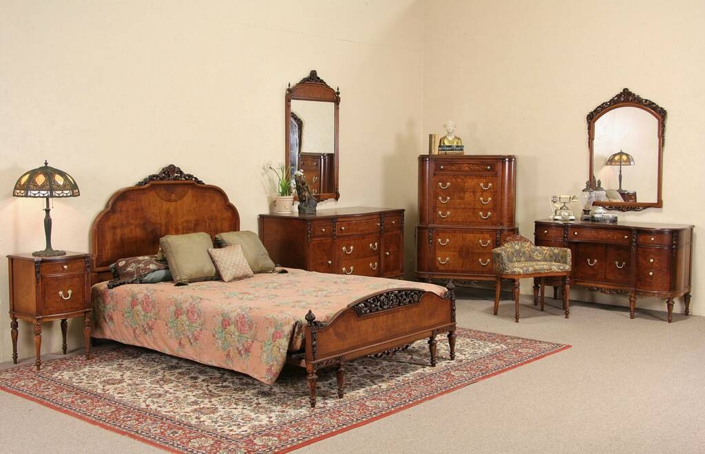 SOLD Queen Size 1930s Vintage Marquetry Carved Bedroom Set 8 Pc Harp Gallery Antique