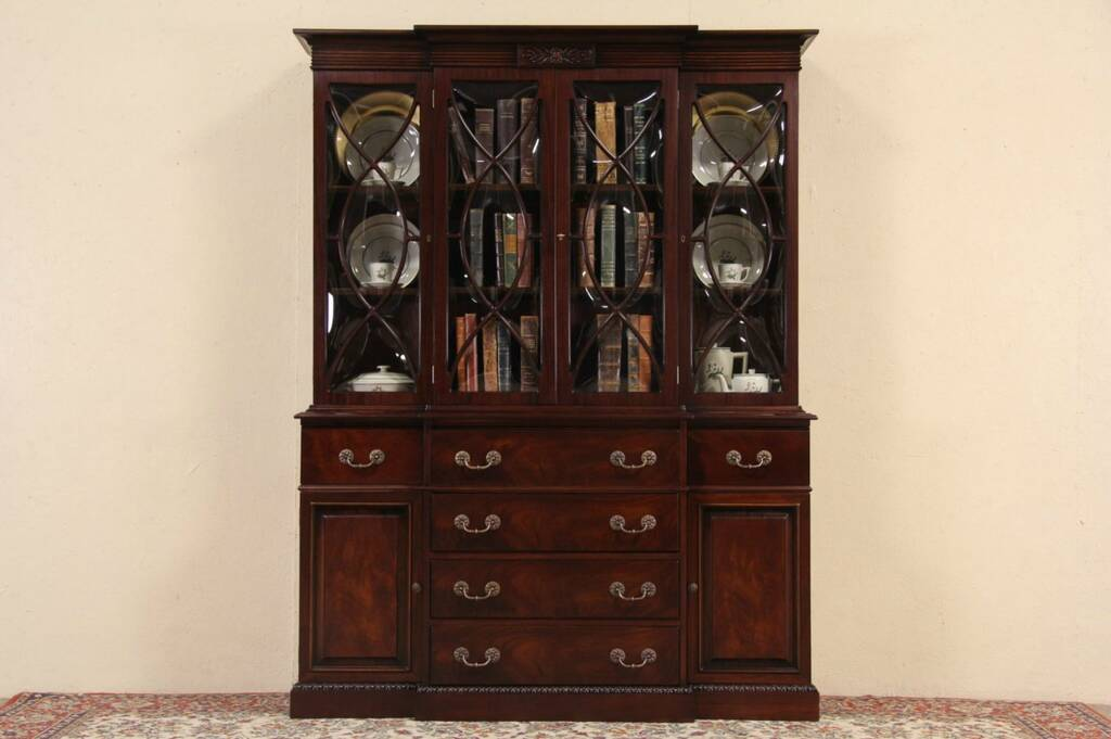 SOLD  Mahogany Traditional 1950s Vintage Breakfront