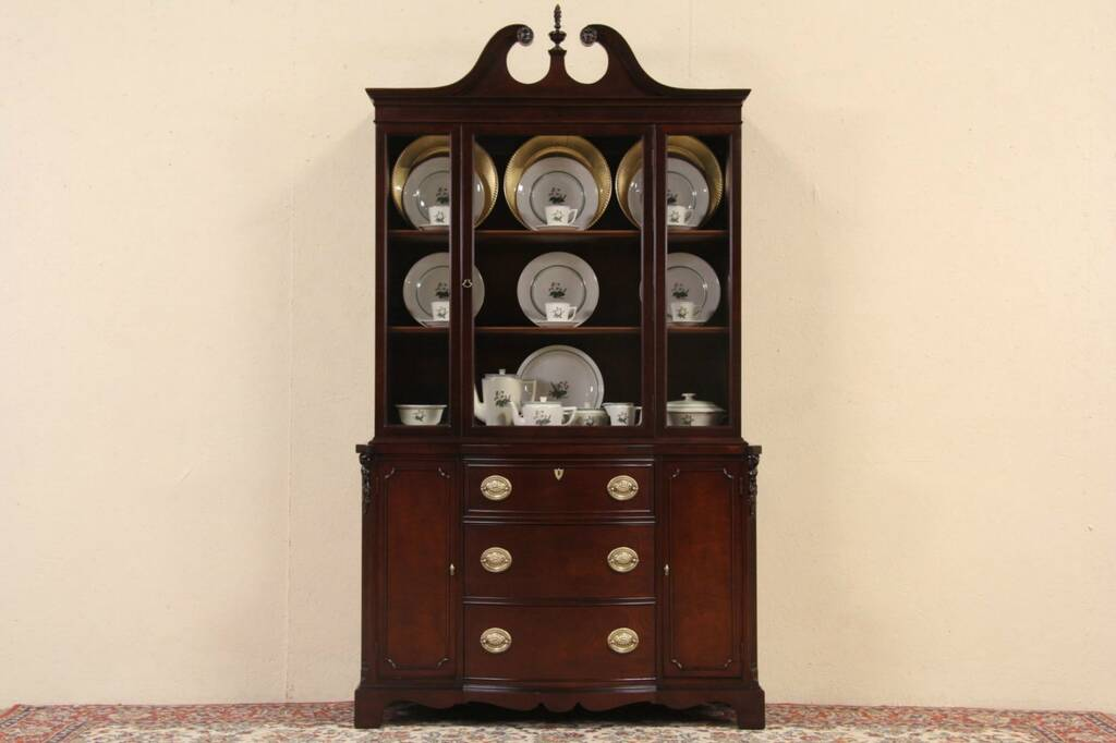 SOLD  Mahogany Traditional 1940s Vintage Breakfront