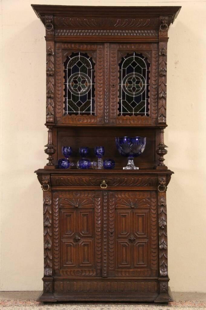 SOLD  Renaissance Lion Carved Oak 1880 French Sideboard