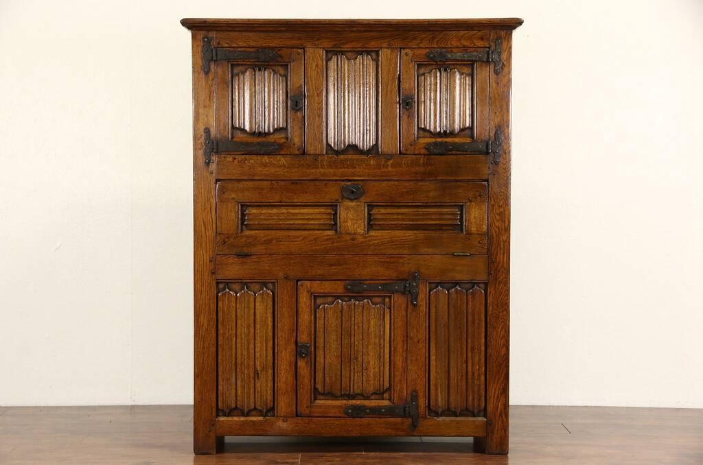 SOLD  Dutch Oak 1840 Antique Bar or Library Cabinet