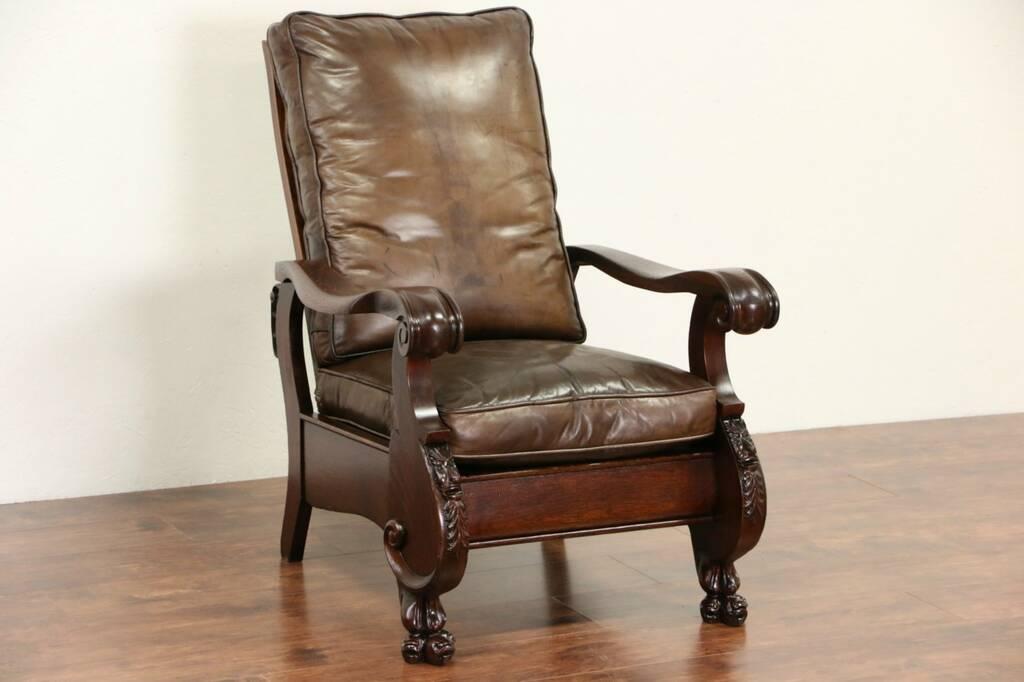 swedish leather recliner chairs zebra print bean bag chair sold - oak 1900 antique morris chair, cushions, lion paw feet harp gallery ...