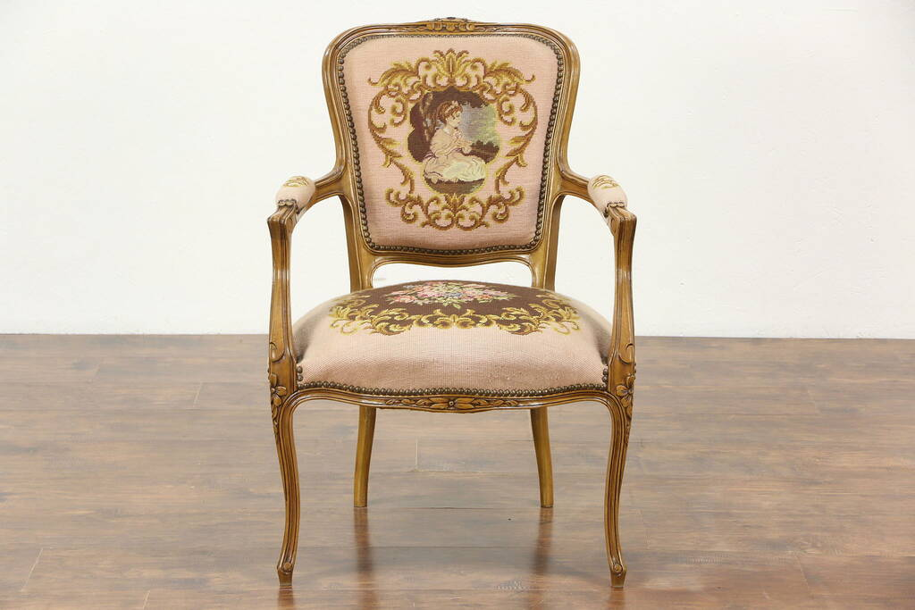 empire furniture sofa made in usa french carved vintage chair, needlepoint & petit point ...