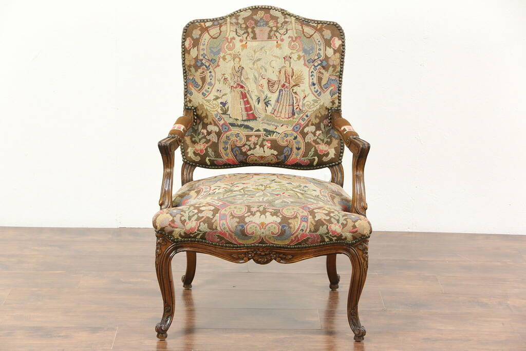 Antique Hand Carved French Chair Needlepoint  Petit