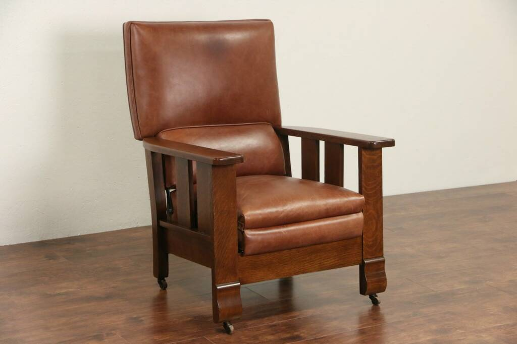 SOLD  Arts  Crafts Mission Oak 1920 Antique Leather