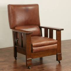 Upright Recliner Chairs Chair Cover Hire Lowestoft Sold - Arts & Crafts Mission Oak 1920 Antique Leather Morris Harp Gallery ...