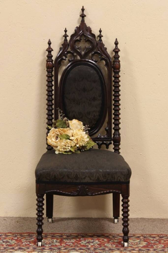 SOLD  Victorian Gothic Antique Horsehair Chair  Harp