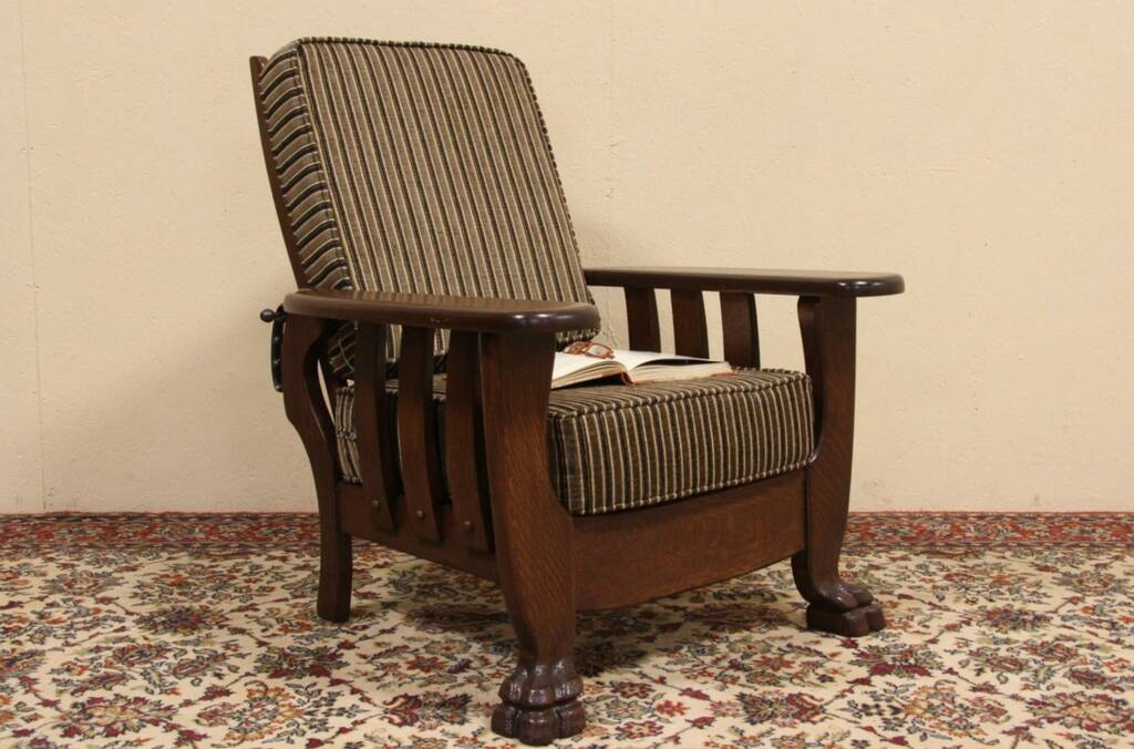 empire furniture sofa innovation living review sold - oak 1900 antique morris recliner chair harp ...
