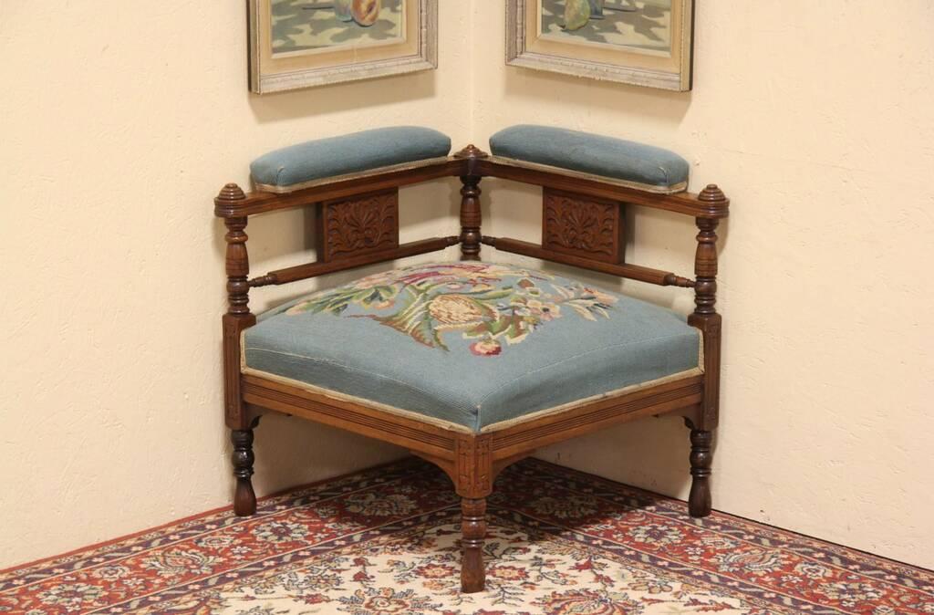 swedish high chair windsor back sold - eastlake needlepoint 1880 antique corner harp gallery furniture
