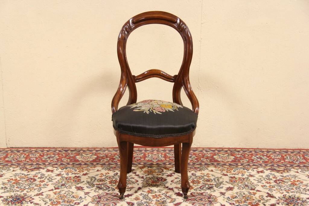 SOLD  Victorian 1860 Antique Embroidered Horsehair Chair