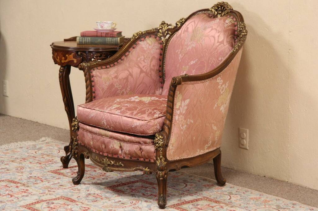 SOLD  French Style Carved 1940s Vintage Chair Original