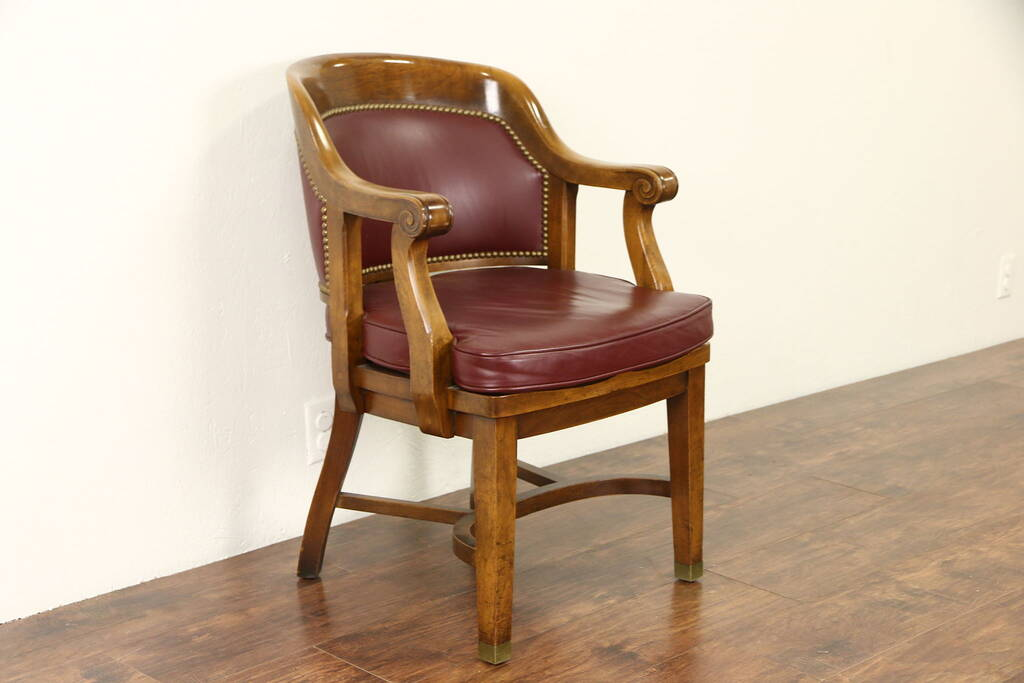 SOLD  Desk Chair 1930s Vintage Walnut  Faux Leather