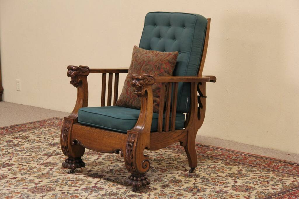 SOLD  Morris Reclining Chair 1900 Antique Carved Oak Lion Heads  Paws  Harp Gallery Antique