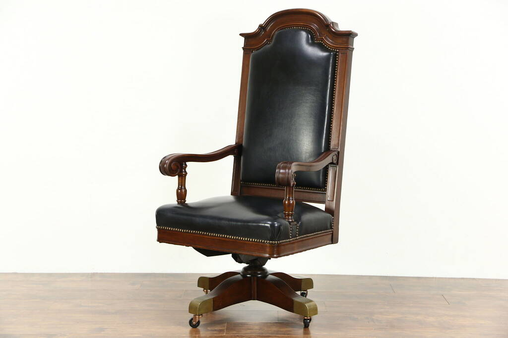 SOLD  Judge Swivel 1915 Antique Walnut  Leather Desk