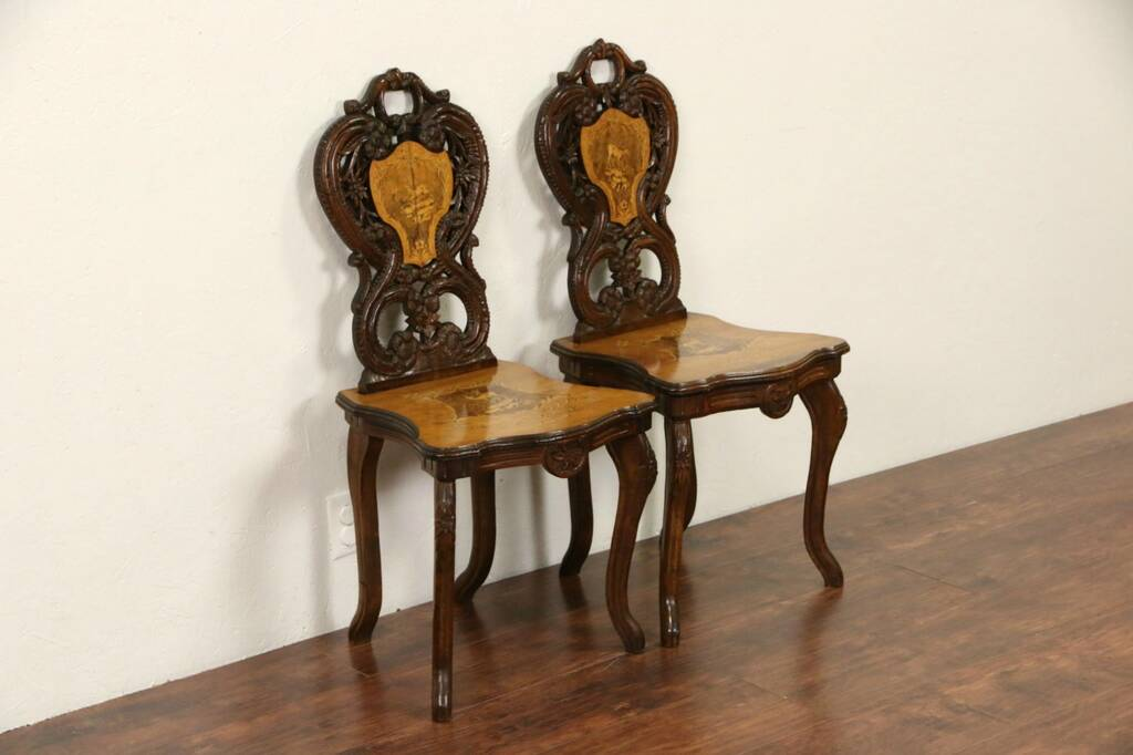henredon asian dining chairs norstar office chair parts sold - black forest 1880 antique pair carved marquetry chairs, wedding march music box harp ...