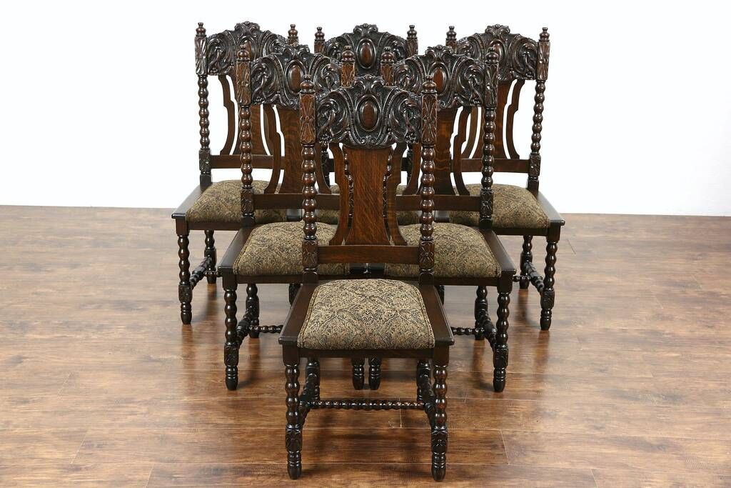 antique oak dining chairs denver broncos chair sold - set of 6 carved 1900 scandinavian chairs, new upholstery harp ...