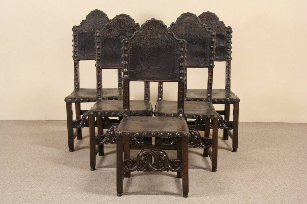 SOLD  Spanish 1700s Antique Tooled Leather Set of 5