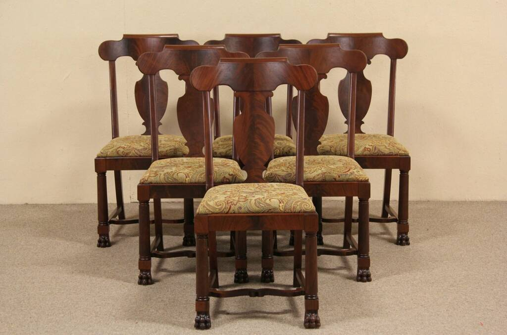 SOLD Set Of Six 1900 Antique Empire Mahogany Dining