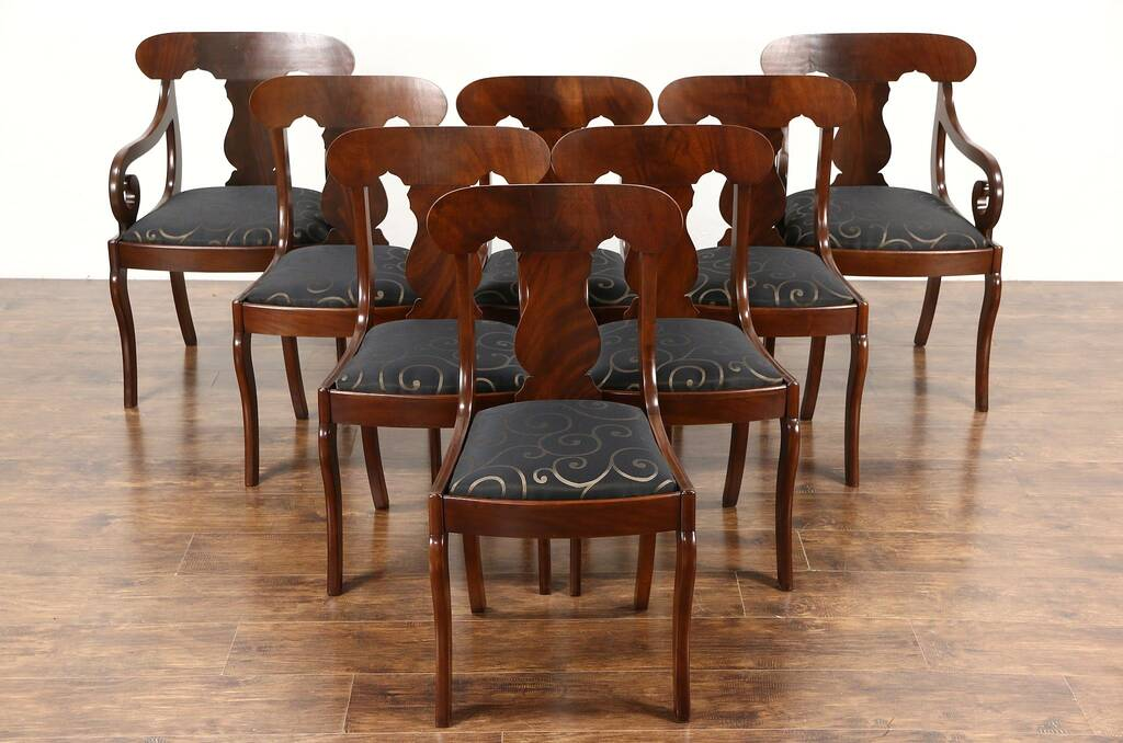 henredon asian dining chairs kohls anti gravity chair set sold - of 8 empire 1930 vintage chairs, cherry & mahogany, new upholstery harp ...