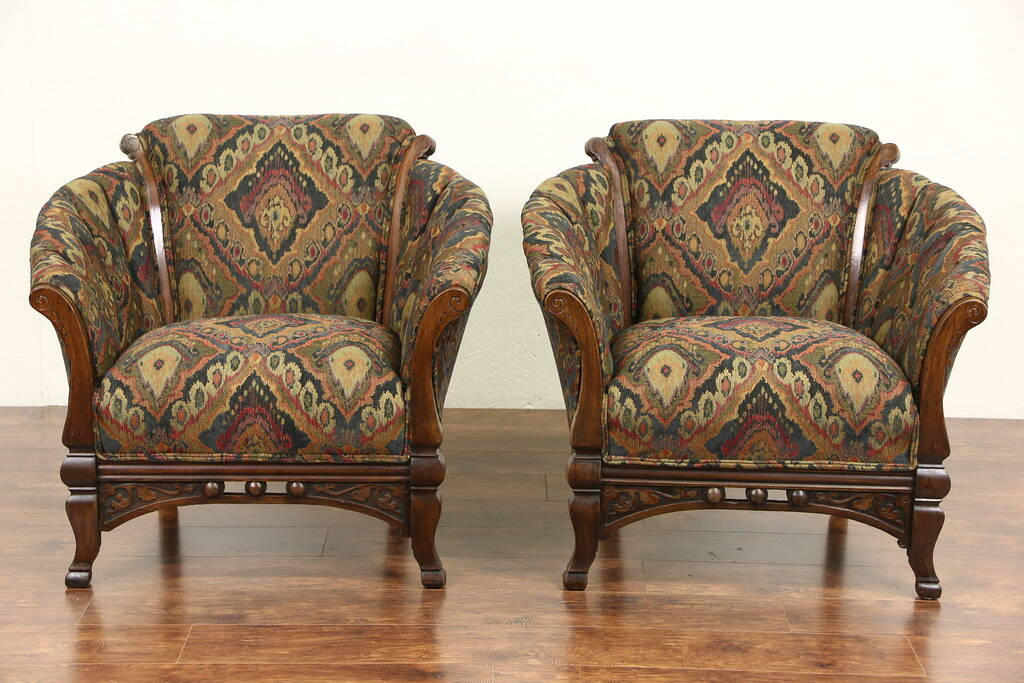 modern victorian sofa rv sleepers sold - pair of eastlake 1890 antique club chairs ...