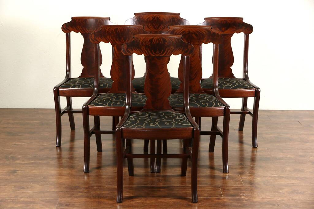 dining chair styles antique hickory leather couch sold - set of 6 1900 mahogany empire chairs, new upholstery, signed harp ...