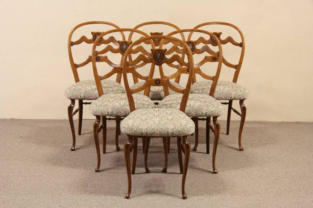 tiger oak dining chairs leather computer sold - set of 6 italian 1940 vintage harp gallery antique furniture
