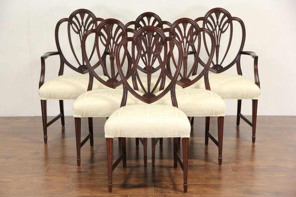 henredon asian dining chairs diy recliner chair sold - set of 6 mahogany hepplewhite 1940 vintage shield back harp gallery ...