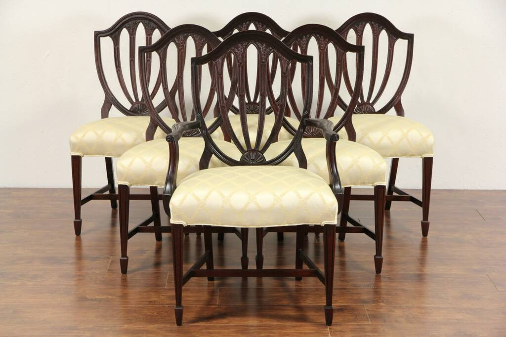 tiger oak dining chairs walmart desk chair sold - set of 6 vintage hepplewhite mahogany shield back chairs, new upholstery harp ...