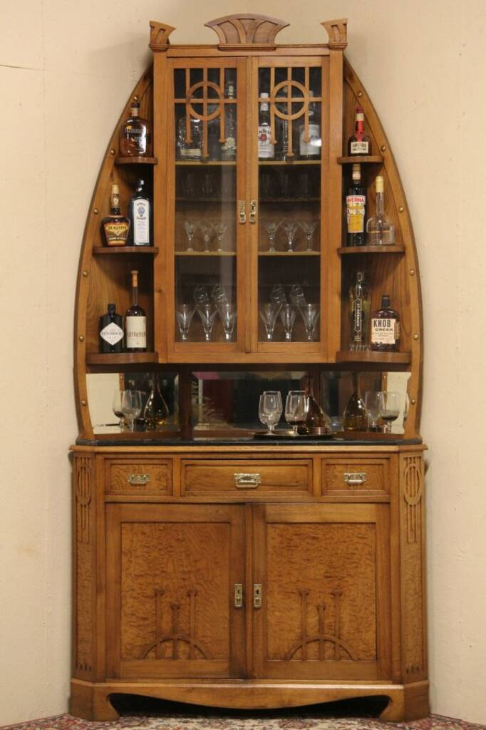 SOLD  Art Nouveau Vienna 1900 Corner Bar Server Cabinet
