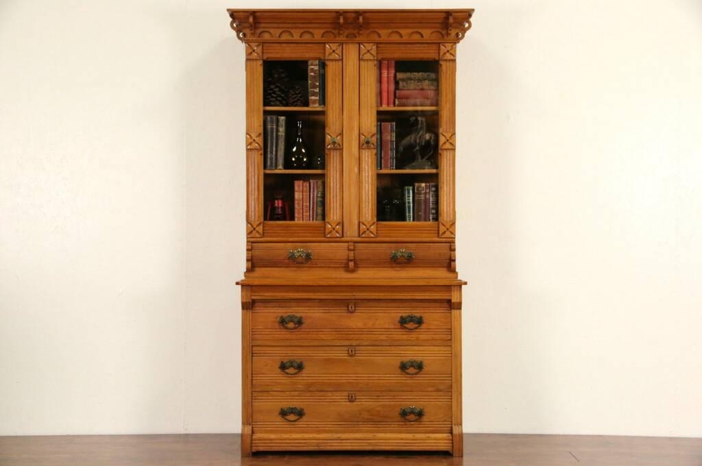 SOLD  Victorian Eastlake 1875 Carved China Cabinet