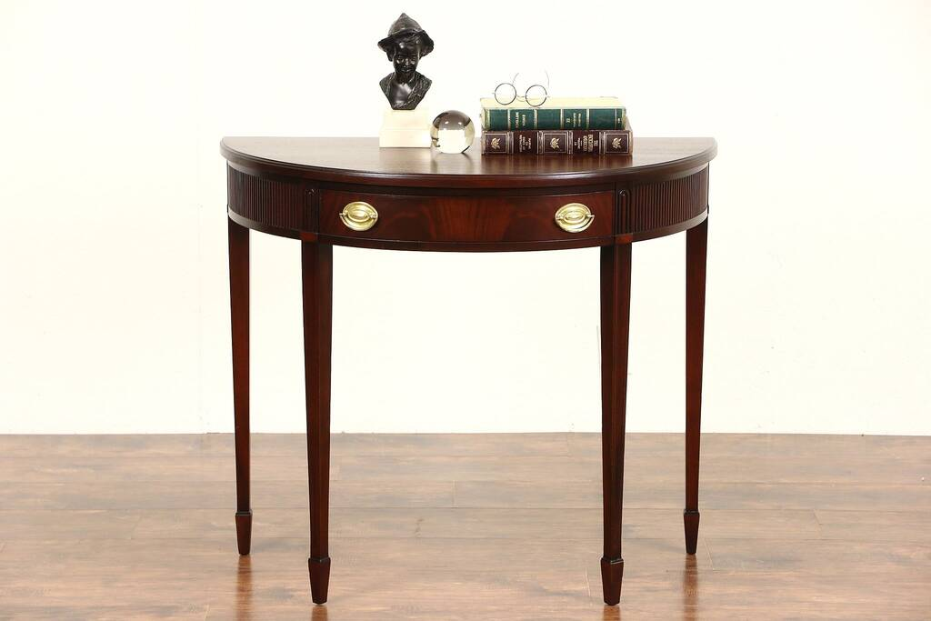 drexel sofa table modern sofas and sectionals sold - demilune half round traditional vintage mahogany ...