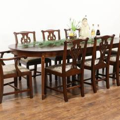 Henredon Asian Dining Chairs High Chair For Sold - Traditional Mahogany Set, Table 3 Leaves, 8 Chairs, Signed Henkel Harris Harp ...