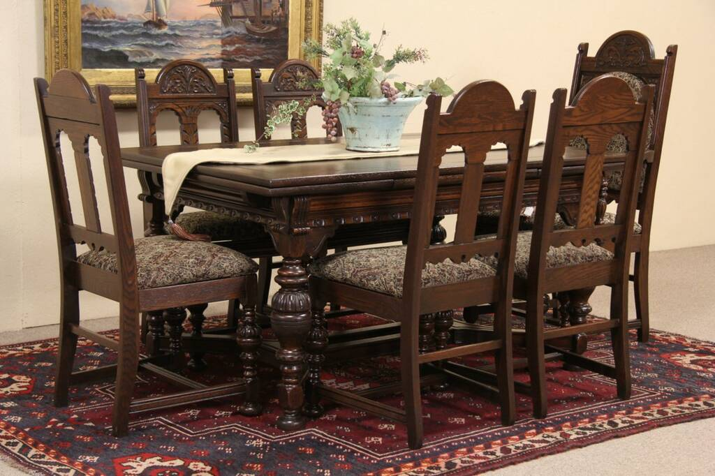 SOLD Oak English Tudor 1920s Carved Oak Dining Set
