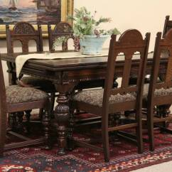 Tiger Oak Dining Chairs Wheelchair Equipment Sold - English Tudor 1920's Carved Set, Table & 6 Harp Gallery Antique ...