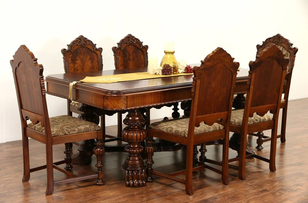 SOLD Renaissance Carved 1920s Antique Dining Set Table