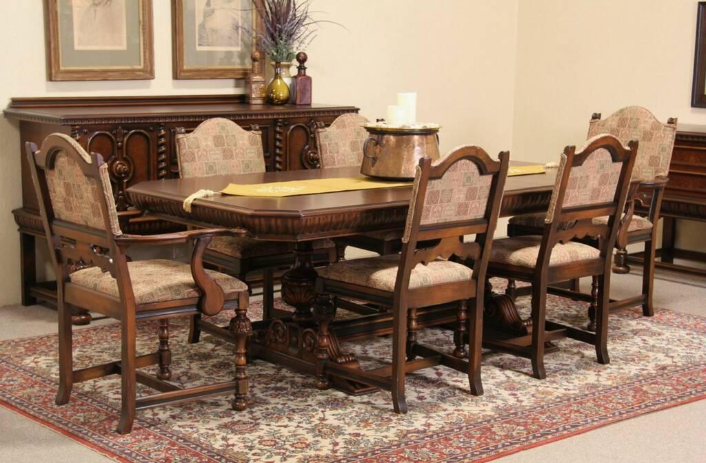 antique tiger oak dining room chairs nursery rocking chair uk sold - berkey & gay renaissance 1925 set, table 6 harp gallery furniture