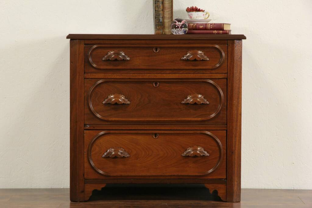 SOLD  Victorian 1870s Antique Small Walnut Dresser Bedside Chest or End Table  Harp Gallery