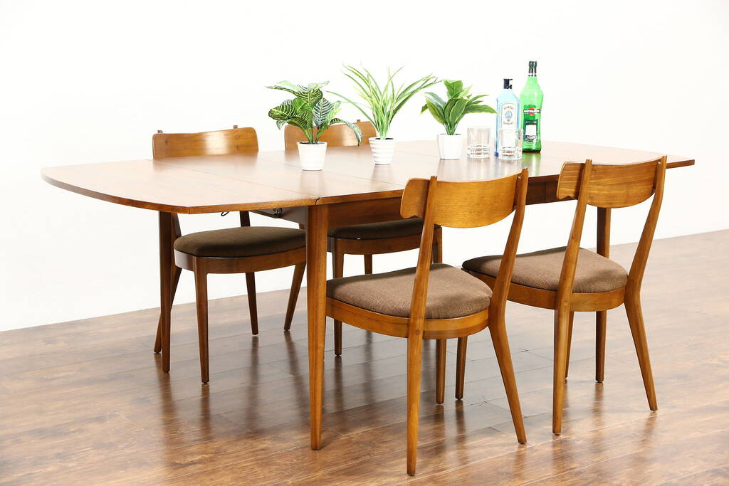 henredon asian dining chairs black plastic chair hire midcentury modern 1960's vintage set, table, leaf, 4 chairs, drexel - harp gallery ...