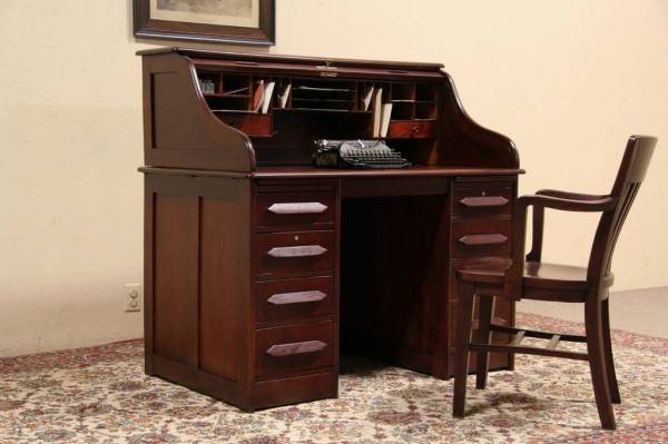 SOLD Rolltop Desk 1910 Antique quotSquot Curve Cherry Finish