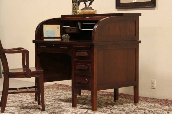 SOLD Standard 1915 Antique Mahogany Roll Top Desk Harp