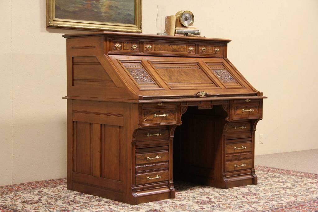 SOLD  Victorian Eastlake 1880 Antique Secretary Desk