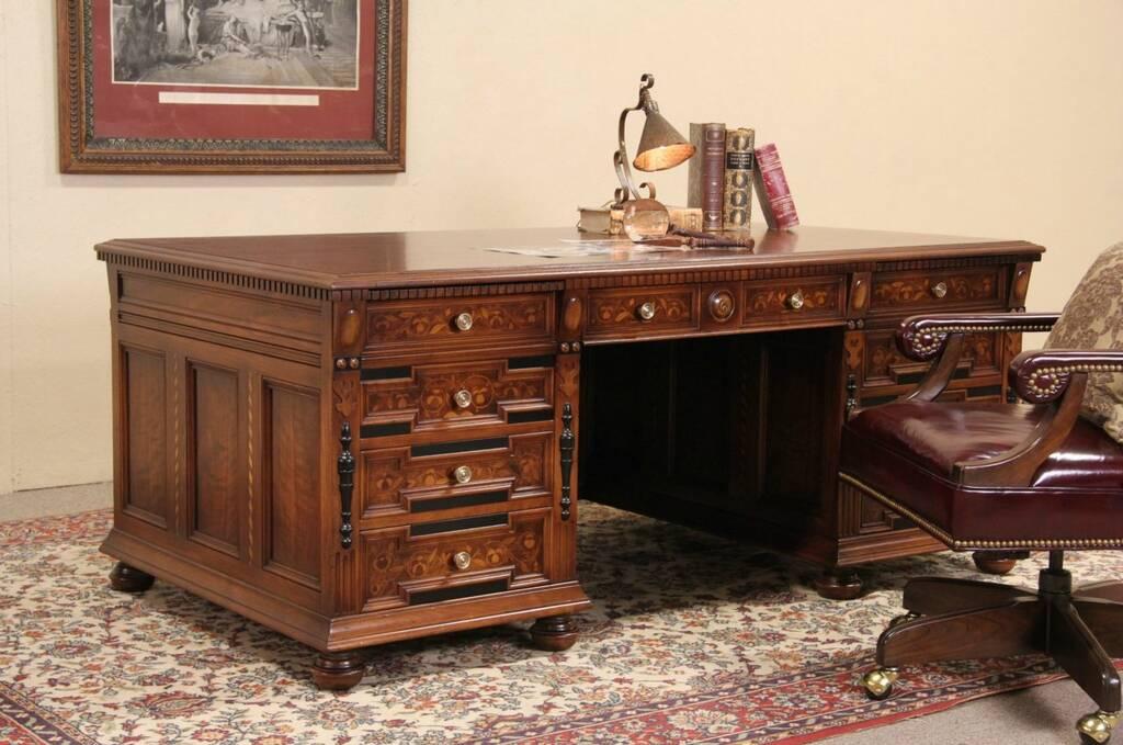 SOLD  Stow Davis 1920s Executive Desk Walnut  Ebony