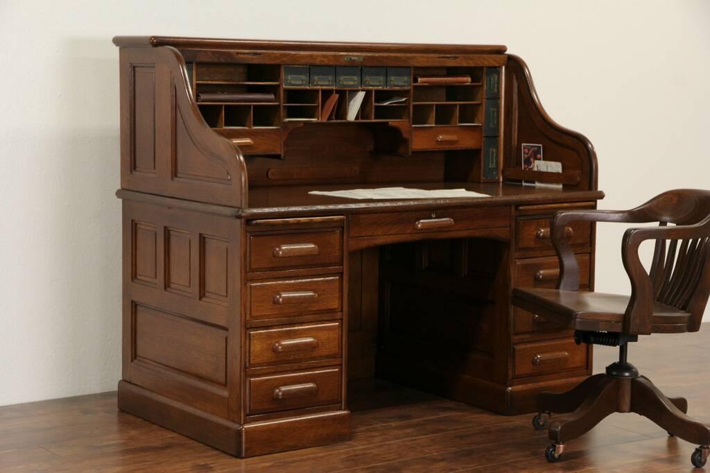 SOLD  Derby of Boston Oak Antique 1900 Rolltop Desk S