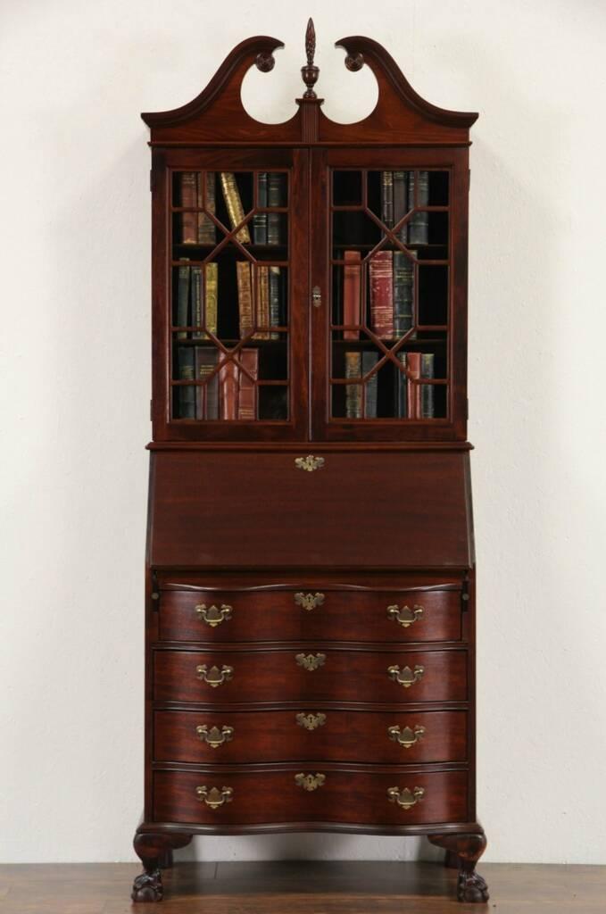 SOLD  Georgian 1940 Vintage Secretary Desk  Bookcase