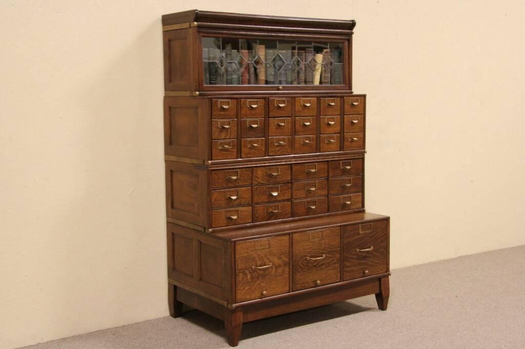 SOLD  Globe Oak 1900 Leaded Glass Stacking Bookcase  33