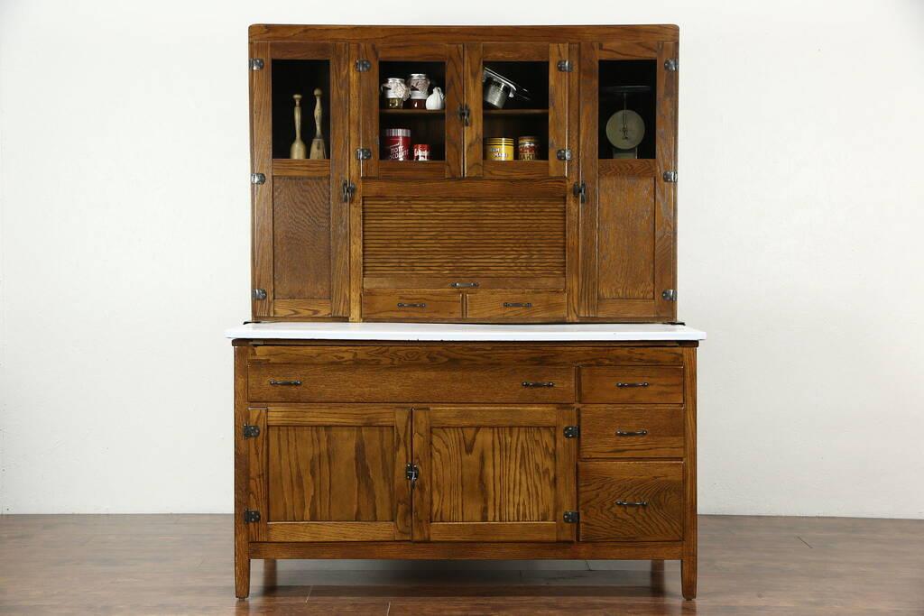 industrial kitchen hardware digital scale sold - hoosier oak pantry cupboard, roll top, 1915 ...