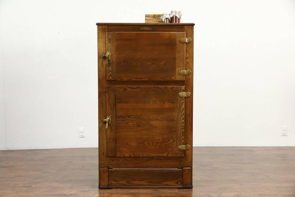 SOLD  Oak 1910 Antique Kitchen Pantry Ice Box Signed