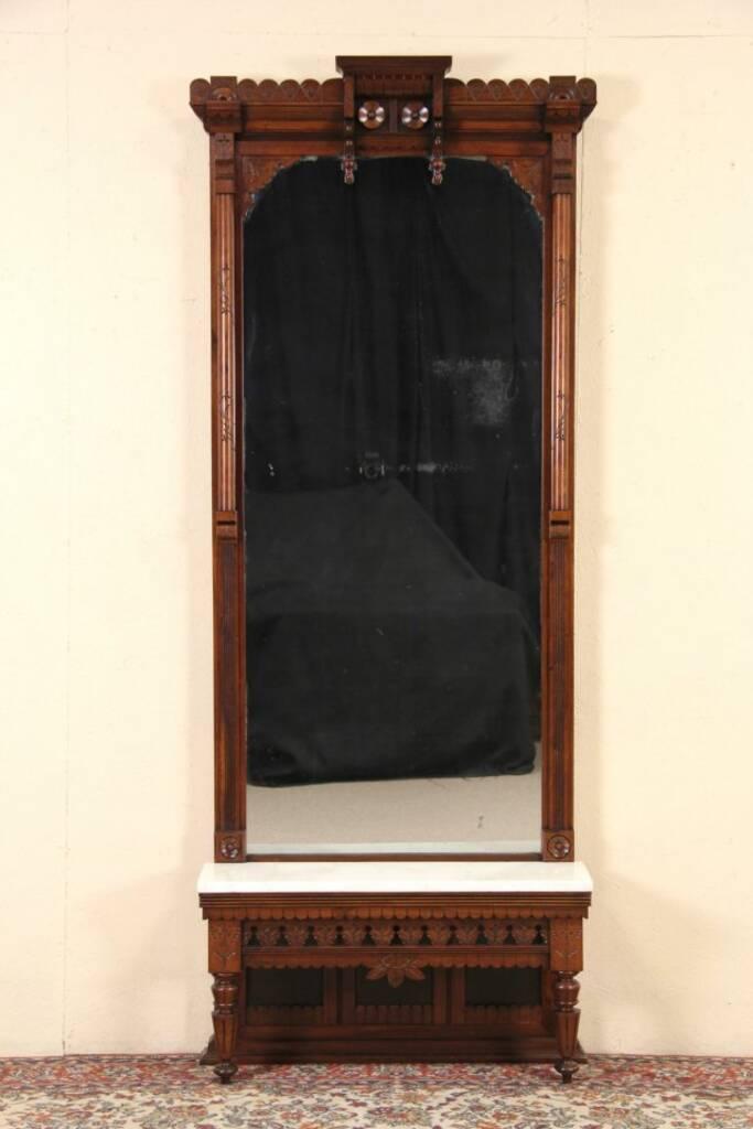 SOLD  Victorian Eastlake Carved 1885 Hall Pier Mirror