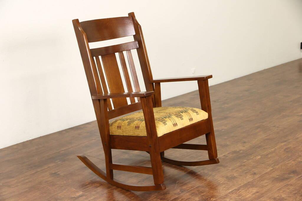 midcentury rocking chair knoll generation task sold - arts & crafts mission oak 1905 antique rocker craftsman harp gallery ...