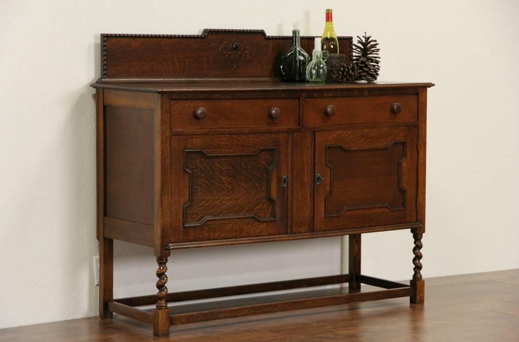 SOLD English Tudor Antique 1910 Oak Sideboard Server Or